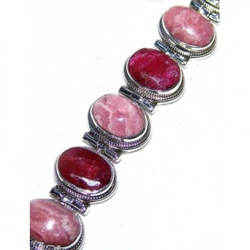 Bracelet with Ruby, Rhodochrosite Gemstones