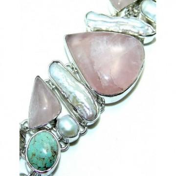 Bracelet with Rose Quartz, Pearl, Biwa Pearl, Turquoise...