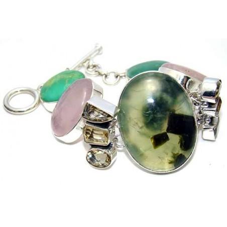Bracelet with Prenite, Pink Opal, Citrine Faceted Gemstones