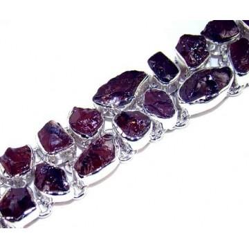 Bracelet with Amethyst Rough Gemstones