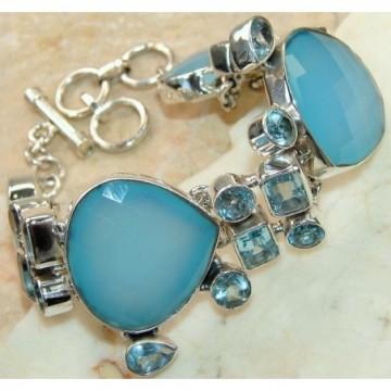 Bracelet with Onyx, Blue Topaz Gemstones