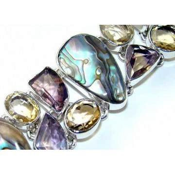 Bracelet with Amethyst Faceted, Abalone Shell, Citrine...