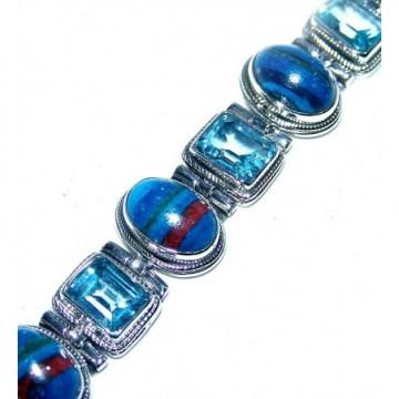 Bracelet with Rainbow Calsilica, Blue Topaz Gemstones
