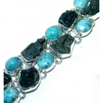 Bracelet with Turquoise, Moldavite Gemstones