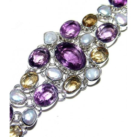 Bracelet with Amethyst Faceted, Pearl, Citrine Faceted Gemstones