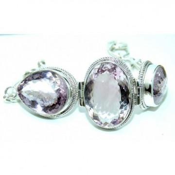 Bracelet with Pink Amethyst Gemstones