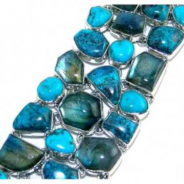 Bracelet with Labradorite, Azurite, Turquoise Gemstones