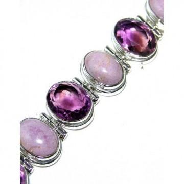 Bracelet with Amethyst Faceted, Phosphosiderite Gemstones