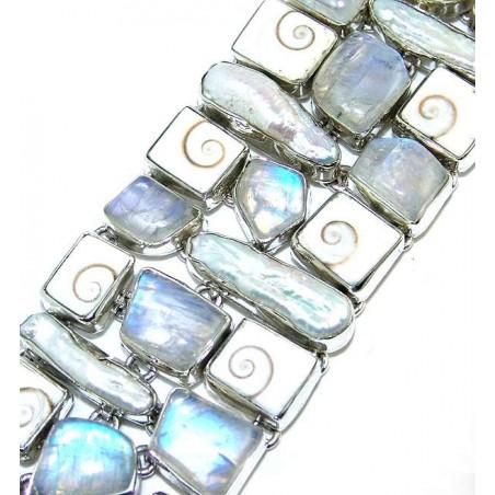 Bracelet with Shiva Pearl, Rainbow Moonstone Faceted, Biwa Pearl Gemstones