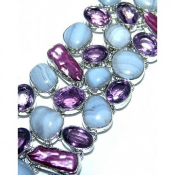 Bracelet with Blue Lace Agate, Amethyst Faceted, Biwa...
