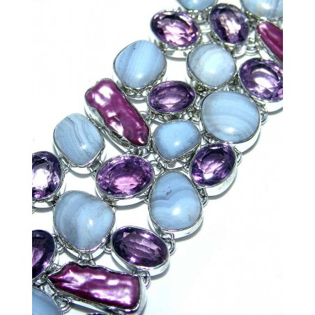 Bracelet with Blue Lace Agate, Amethyst Faceted, Biwa Pearl Gemstones