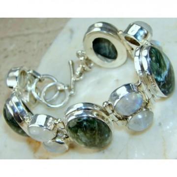 Bracelet with Seraphinite, Moonstone Gemstones