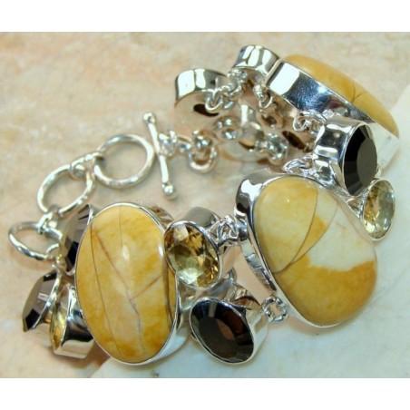 Bracelet with Brecciated Mookaite, Smokey Quartz, Citrine Faceted Gemstones