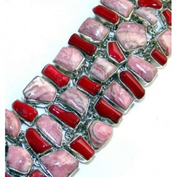 Bracelet with Rhodochrosite, Coral Gemstones