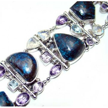 Bracelet with Azurite, Rainbow Moonstone Faceted,...
