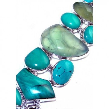 Bracelet with Prenite, Turquoise Gemstones