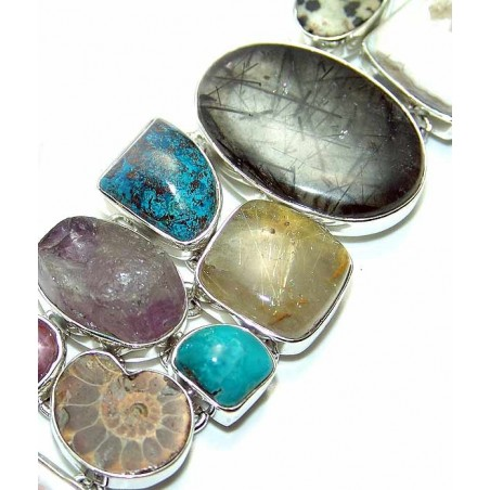 Bracelet with Mix Cabochons Gemstones
