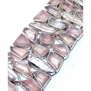Bracelet with Rose Quartz, Biwa Pearl Gemstones