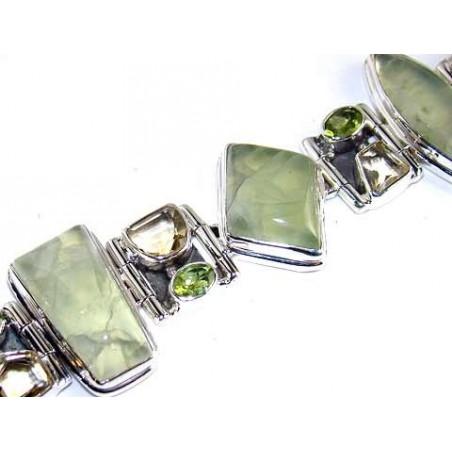 Bracelet with Prenite, Peridot Faceted, Citrine Faceted Gemstones