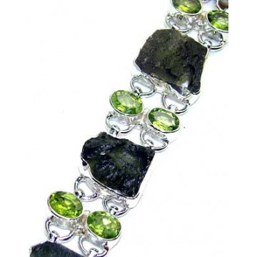 Bracelet with Moldavite, Peridot Faceted Gemstones