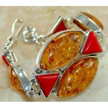 Bracelet with Amber, Coral Gemstones