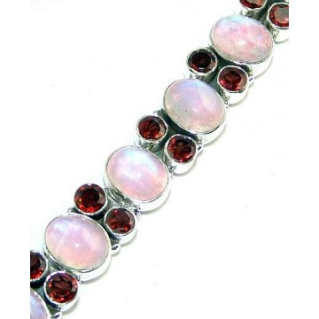 Bracelet with Rainbow Moonstone, Garnet Faceted Gemstones