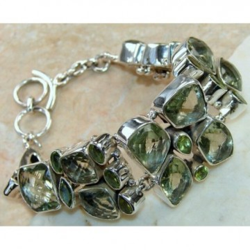 Bracelet with Green Amethyst, Peridot Faceted Gemstones