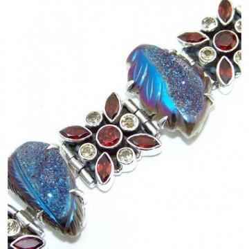 Bracelet with Carved Coated Drusy, Garnet Faceted,...