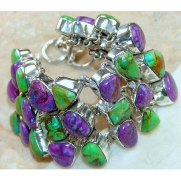 Bracelet with Green Turquoise, Purple Turquoise Gemstones