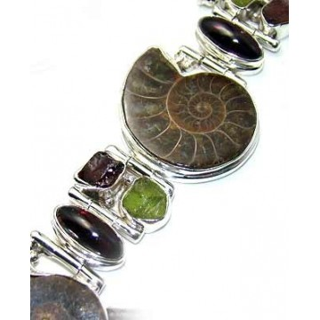 Bracelet with Ammonite, Garnet Cabochon, Peridot Rough...