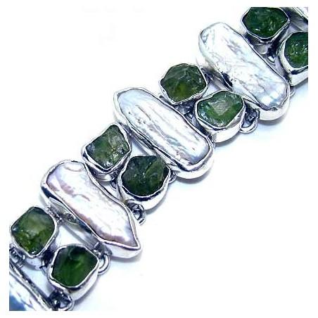 Bracelet with Biwa Pearl, Peridot Rough Gemstones