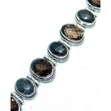 Bracelet with Smokey Quartz, Labradorite Gemstones