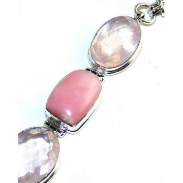 Bracelet with Pink Opal, Rose Quartz Gemstones