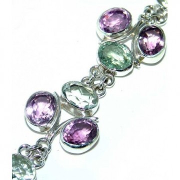 Bracelet with Amethyst Faceted, Green Amethyst Gemstones