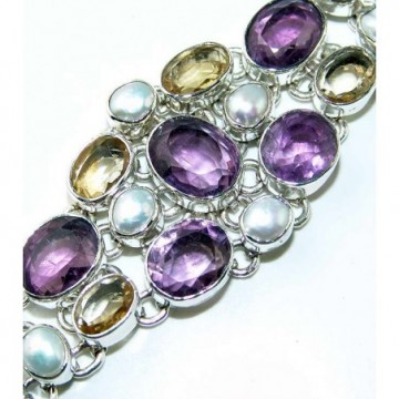 Bracelet with Amethyst Faceted, Pearl, Citrine Faceted...