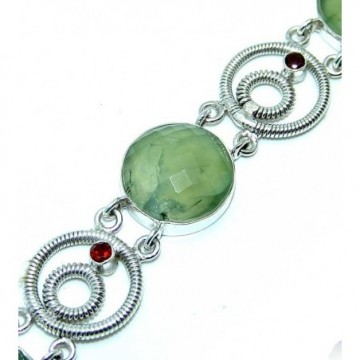 Bracelet with Prenite, Mixed Faceted Stones Gemstones