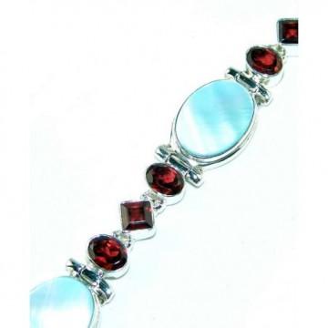Bracelet with Abalone Shell, Garnet Faceted Gemstones