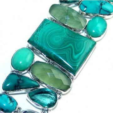 Bracelet with Malachite, Prenite, Turquoise Gemstones