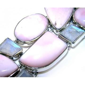 Bracelet with Pink Opal, Rainbow Moonstone Gemstones