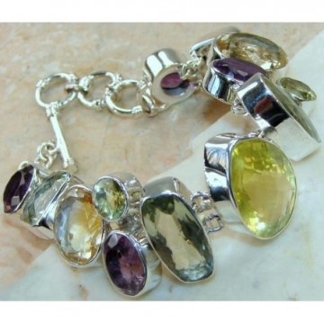 Bracelet with Lemon Quartz, Green Amethyst, Amethyst...