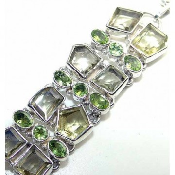 Bracelet with Peridot Faceted, Lemon Quartz Gemstones