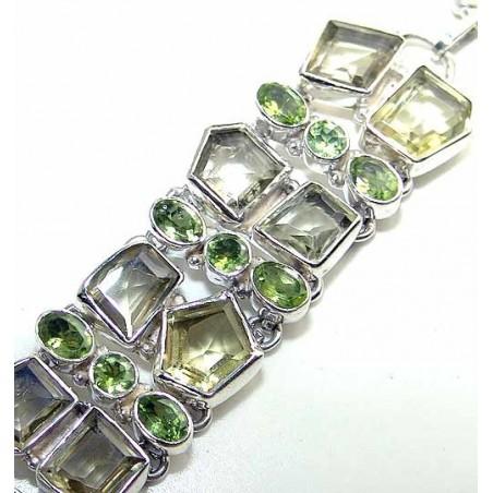 Bracelet with Peridot Faceted, Lemon Quartz Gemstones