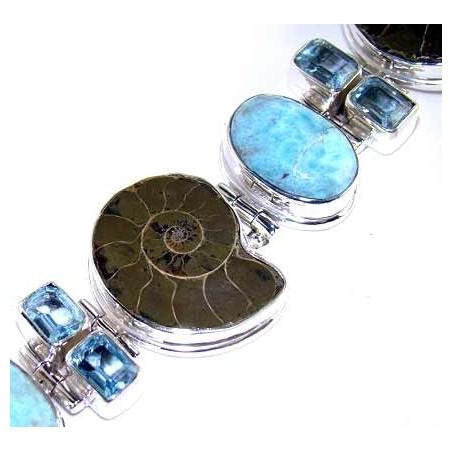 Bracelet with Ammonite, Blue Topaz, Larimar Gemstones