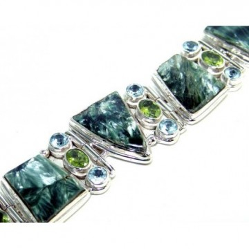 Bracelet with Seraphinite, Blue Topaz, Peridot Faceted...
