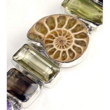 Bracelet with Ammonite, Lemon Quartz, Smokey Quartz,...