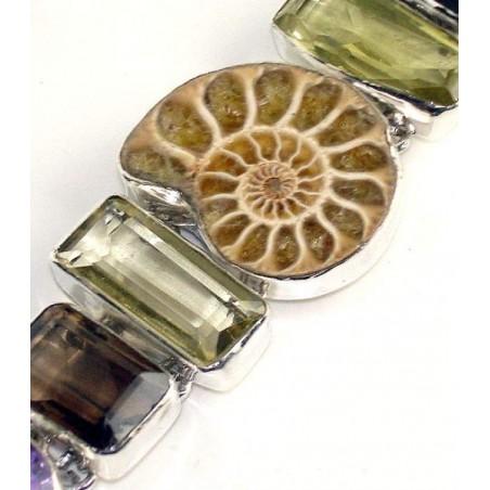 Bracelet with Ammonite, Lemon Quartz, Smokey Quartz, Amethyst Faceted Gemstones