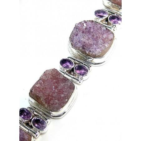 Bracelet with Amethyst Drusy, Amethyst Faceted Gemstones