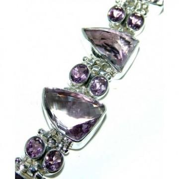 Bracelet with Pink Amethyst, Pink Topaz Gemstones