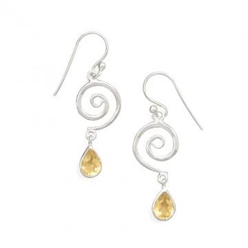 Beautiful Citrine Gemstone Dangle Drop Earrings
