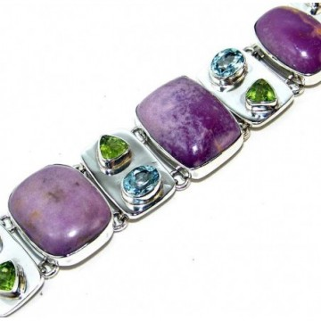 Bracelet with Phosphosiderite, Mixed Faceted Stones...